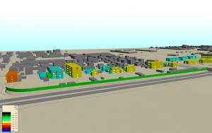 Vista del modello 3D con calcolo in facciata
